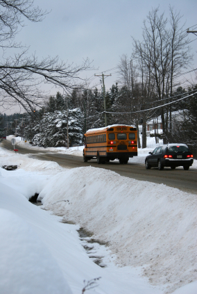 School bus on snowy road