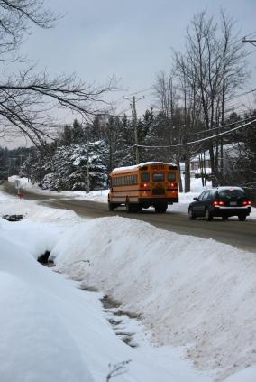 School bus on snowy road
